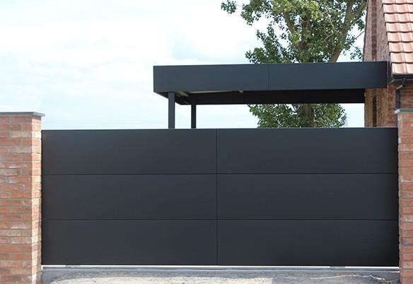Carport alu et portail horizon noir