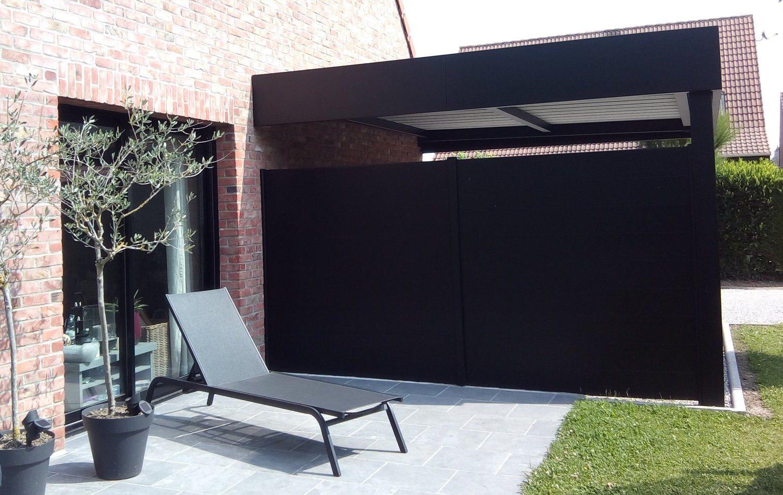 Carport Horizon noir avec brise-vue prestilame