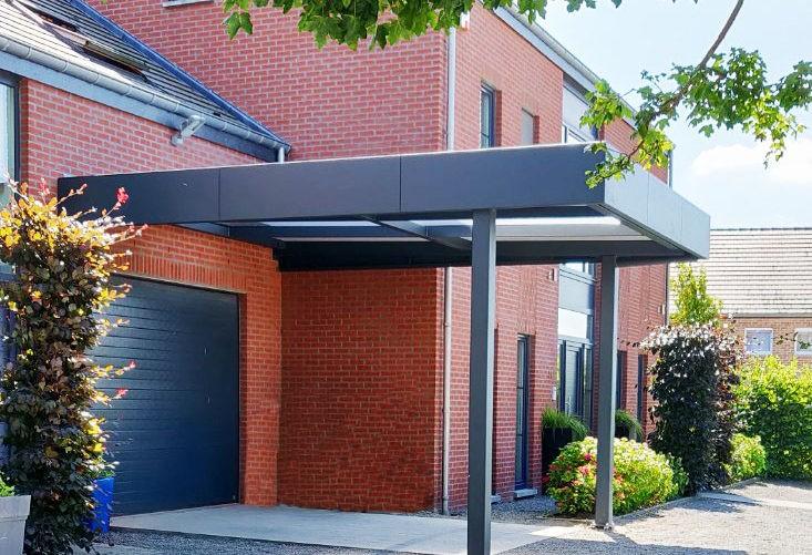 Carport aluminium Horizon avec toiture polycarbonate et bac acier